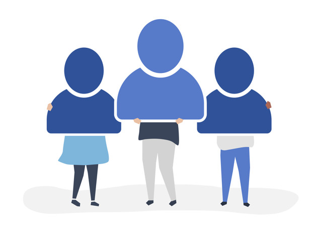 Character illustration of people holding user account icons Free Vector