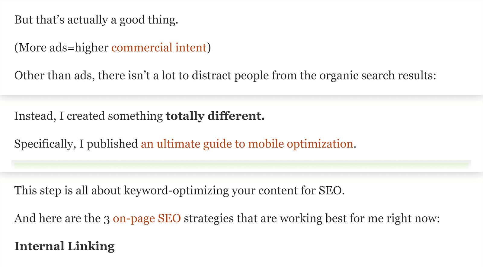SEO content - Backlinko - internal link