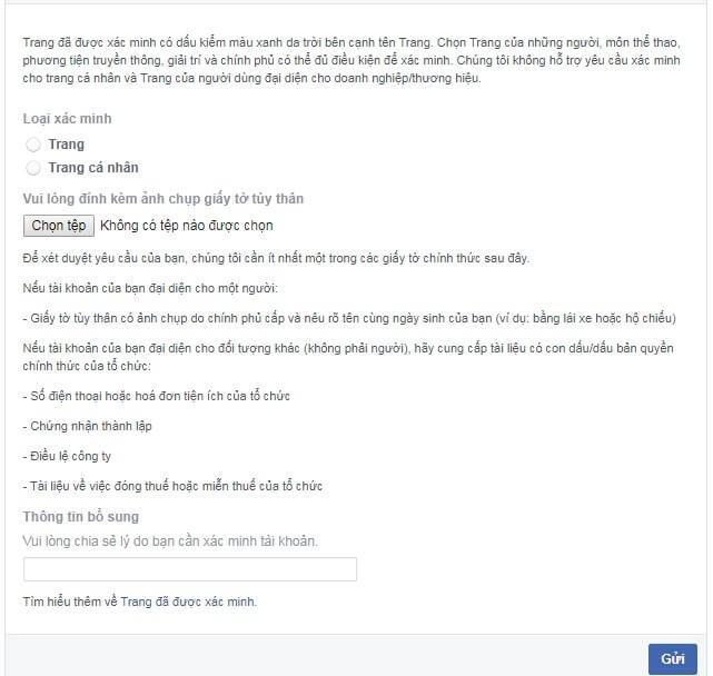 Hướng dẫn đăng ký tích xanh Facebook 4