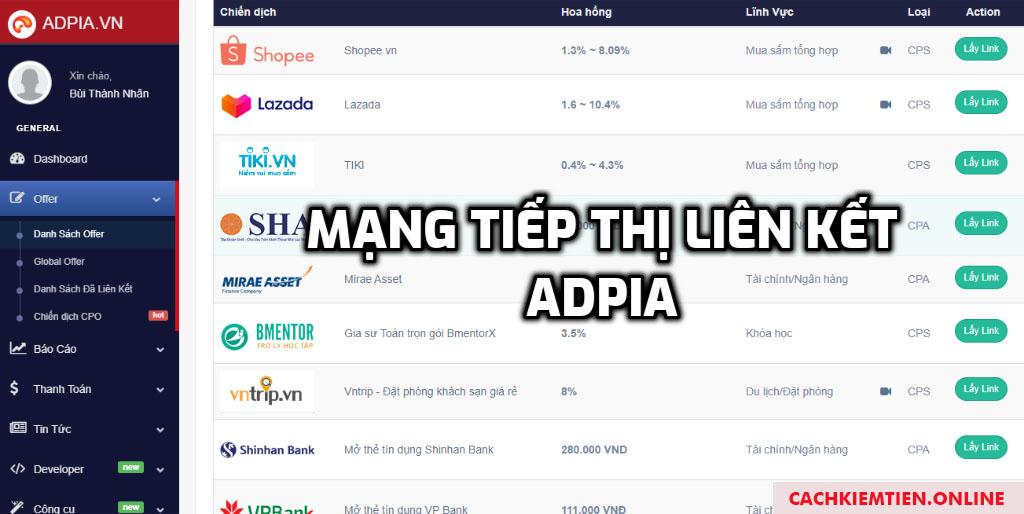 mạng tiếp thị liên kết Adpia